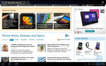 Web browsing with the Samsung GALAXY Tab 10.1 - HP TouchPad vs Samsung Galaxy Tab 10.1