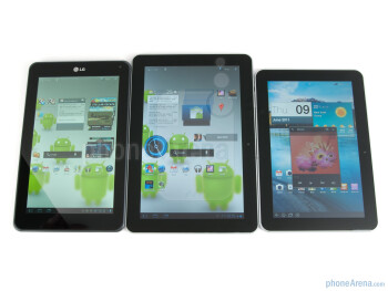 LG Optimus Pad (left), Samsung Galaxy Tab 10.1 (middle), Samsung Galaxy Tab 8.9 (right) - LG Optimus Pad Review