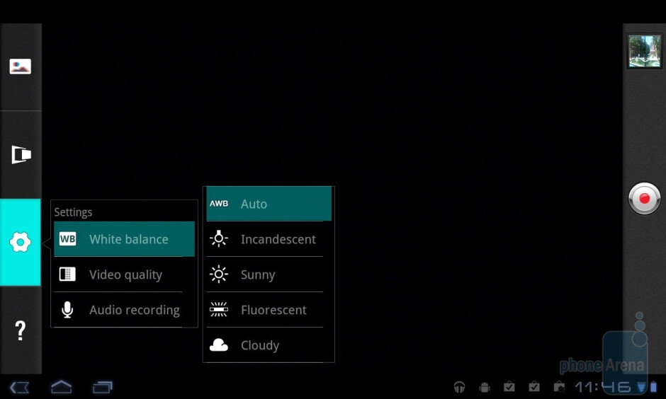 The 3D video camera interface - LG Optimus Pad Review