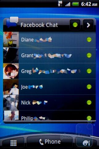Facebook chat - Facebook integration - HTC Salsa Review
