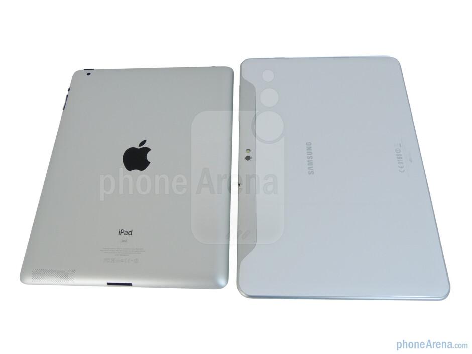 Back - The Apple iPad 2 (left, top) and the Samsung Galaxy Tab 10.1 (right, bottom) - Samsung Galaxy Tab 10.1 vs Apple iPad 2