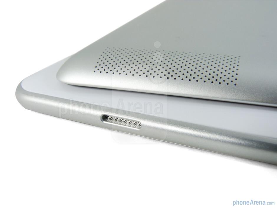 Speakers - The Apple iPad 2 (left, top) and the Samsung Galaxy Tab 10.1 (right, bottom) - Samsung Galaxy Tab 10.1 vs Apple iPad 2