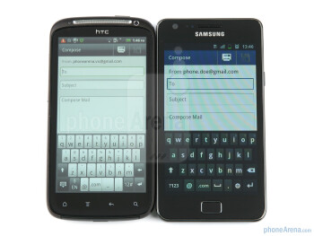 Keyboards of the HTC Sensation (left, up)and the Samsung Galaxy S II (right, bottom) - HTC Sensation vs Samsung Galaxy S II