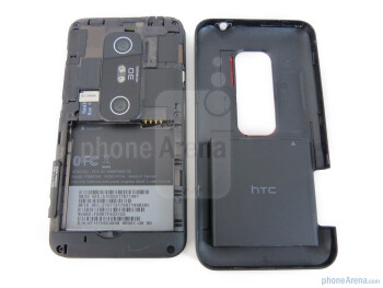 Yanking off the rear cover gives us access to the battery and microSD card slot - HTC EVO 3D Review