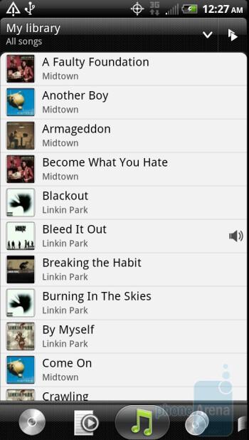 The music player of the HTC EVO 3D - Motorola Photon 4G vs. HTC EVO 3D