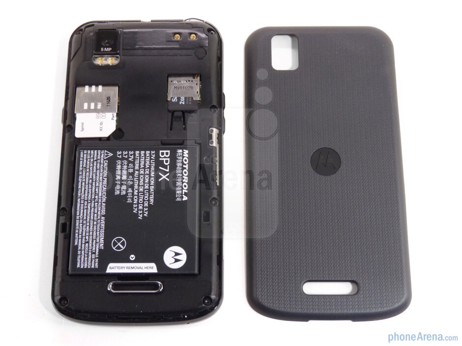 The battery door is made of soft touch plastic - Motorola XPRT Review