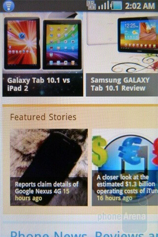 Web browsing - Samsung Gravity SMART Review