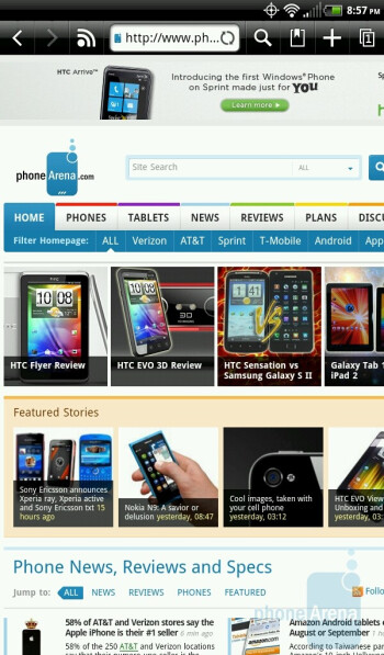 The web browser of HTC EVO View 4G - HTC EVO View 4G Review