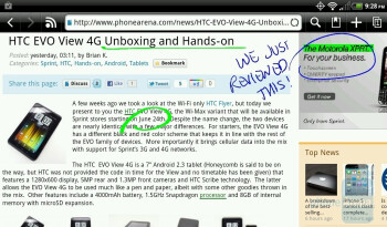 Simply tap the screen with the Scribe pen and the software captures a screenshot that you can scribble on - HTC EVO View 4G Review