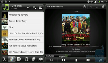 In landscape mode, the Gallery and Music apps are two paned - HTC EVO View 4G Review