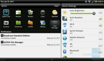 The notification drop down menu - HTC EVO View 4G Review