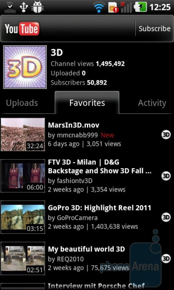 3D videos in YouTube - LG Optimus 3D (Thrill 4G) Review