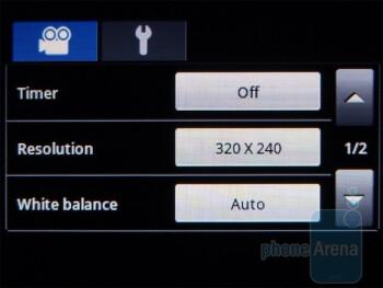 Camcorder interface - Samsung Dart Review