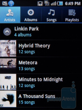 Samsung Dart uses the conventional Android music player - Samsung Dart Review