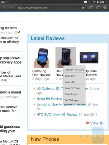 Web browsing with the HP TouchPad - HP TouchPad vs Samsung Galaxy Tab 10.1