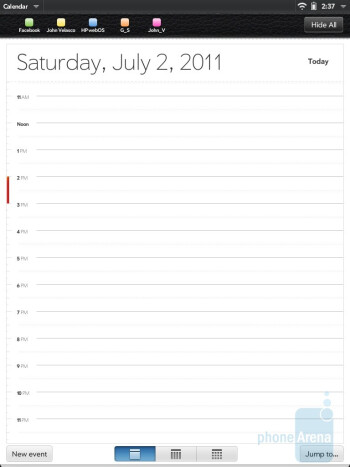 The Calendar app of HP TouchPad - HP TouchPad vs Apple iPad 2