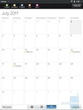 The Calendar app of HP TouchPad - HP TouchPad vs Samsung Galaxy Tab 10.1