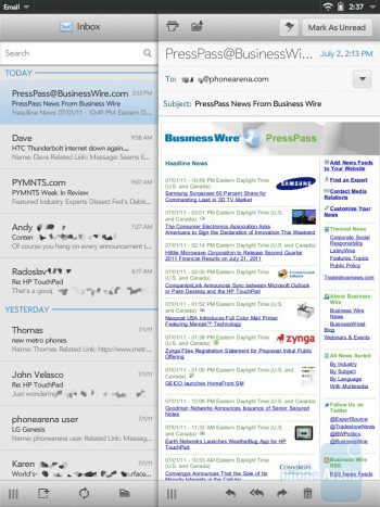 The Email app of the HP TouchPad - HP TouchPad vs Samsung Galaxy Tab 10.1