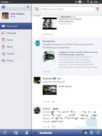 The HP TouchPad is preloaded with an official Facebook app - HP TouchPad Review