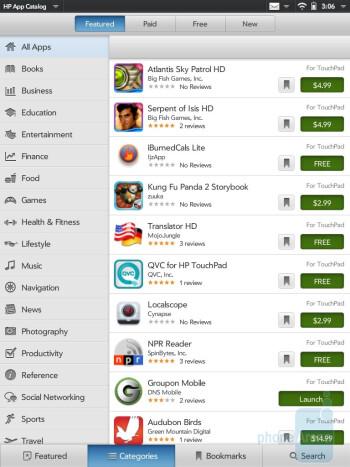 HP App Catalog - HP TouchPad vs Samsung Galaxy Tab 10.1