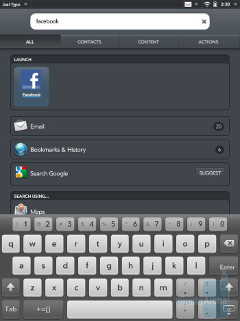 The keyboard of HP TouchPad -  Samsung GALAXY Tab 10.1 keyboards - HP TouchPad vs Samsung Galaxy Tab 10.1
