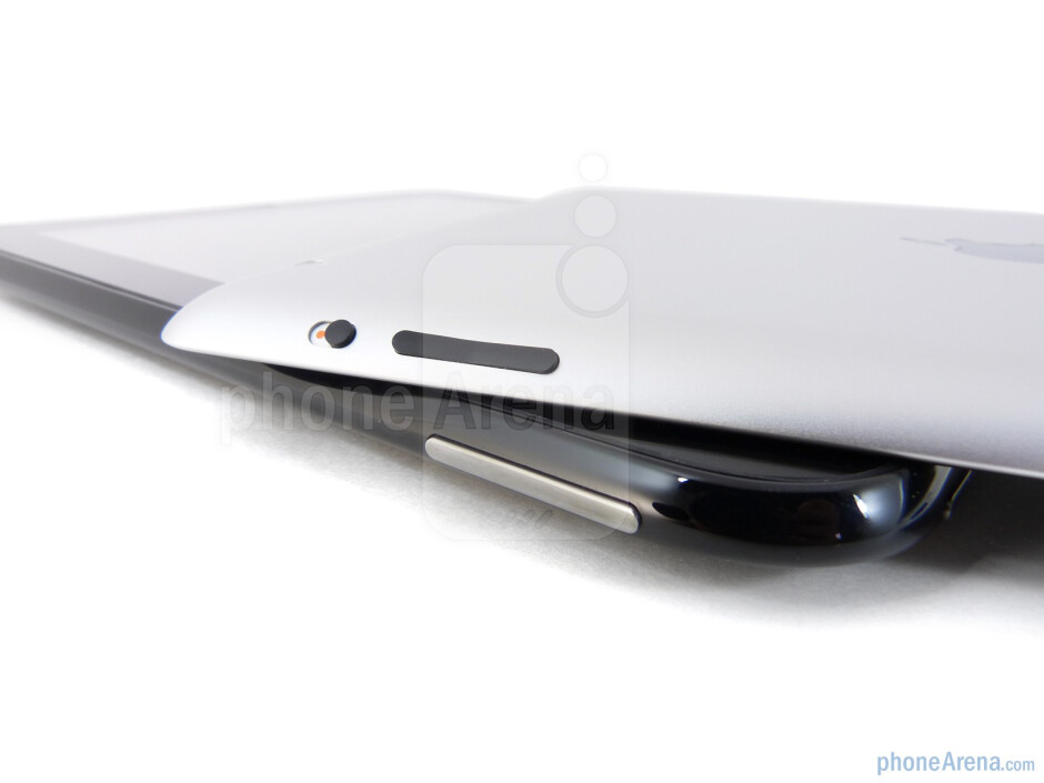 Volume rockers - The HP TouchPad (bottom) and the Apple iPad 2 (top) - HP TouchPad vs Apple iPad 2