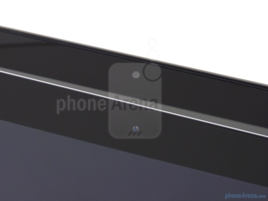 Front-facing cameras - The HP TouchPad (bottom) and the Apple iPad 2 (top) - HP TouchPad vs Apple iPad 2
