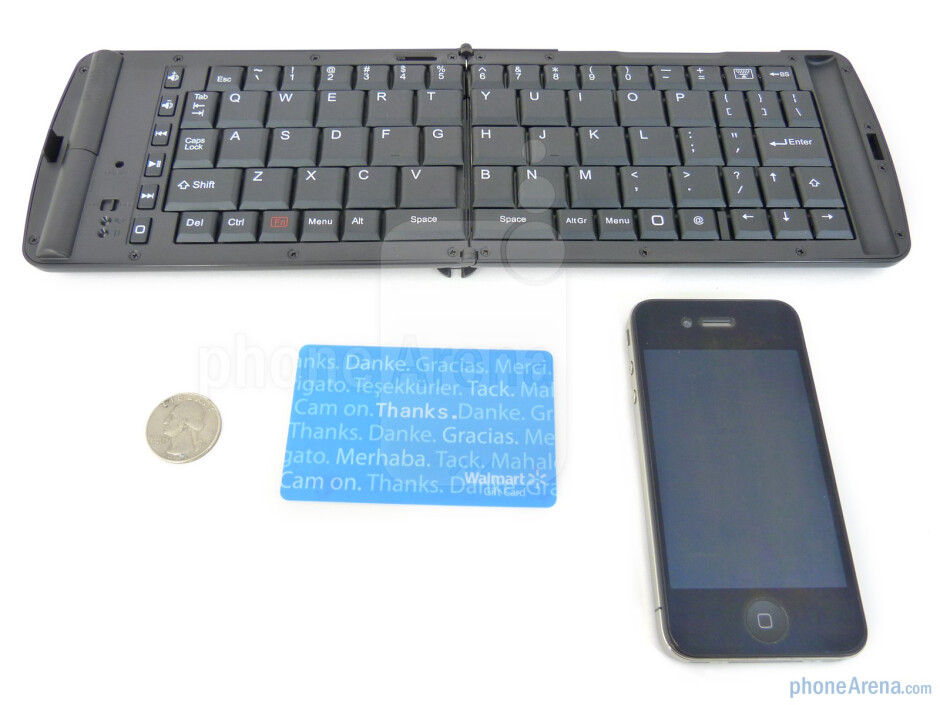 With the Apple iPhone 4 - Verbatim Wireless Bluetooth Mobile Keyboard package and contents - Verbatim Wireless Bluetooth Mobile Keyboard Review