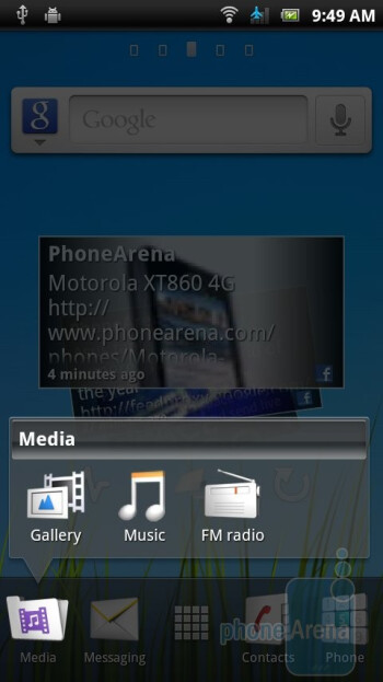 The interface of Sony Ericsson Xperia ray - Sony Ericsson Xperia ray Preview