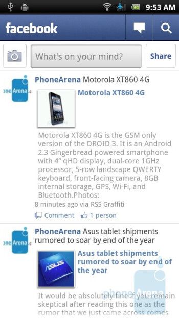 Facebook - The interface of Sony Ericsson Xperia ray - Sony Ericsson Xperia ray Preview