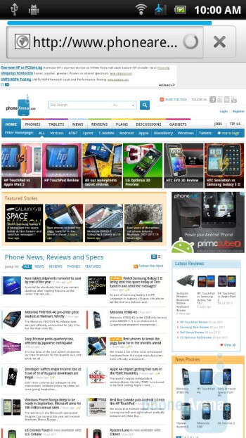 Web browsing - Sony Ericsson Xperia ray Preview
