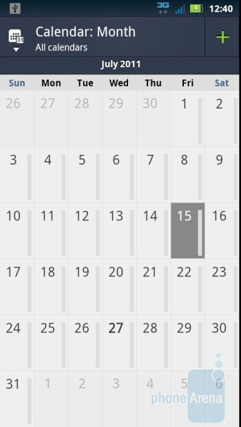 Calendar of the Motorola DROID 3 - Motorola DROID 3 vs Motorola DROID X2