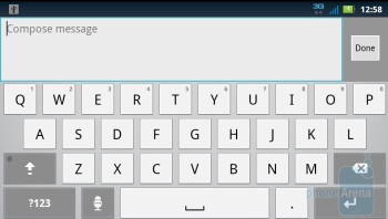 The on-screen keyboard of the Motorola DROID 3 - Motorola DROID 3 vs HTC ThunderBolt
