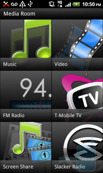 The Media Room app is the centralized area for all of the handset's multimedia functions - T-Mobile myTouch 4G Slide Review