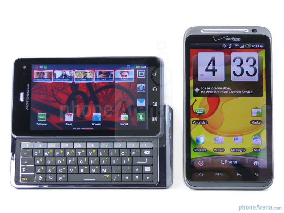 The Motorola DROID 3 (left) and the HTC ThunderBolt (right) - Motorola DROID 3 vs HTC ThunderBolt