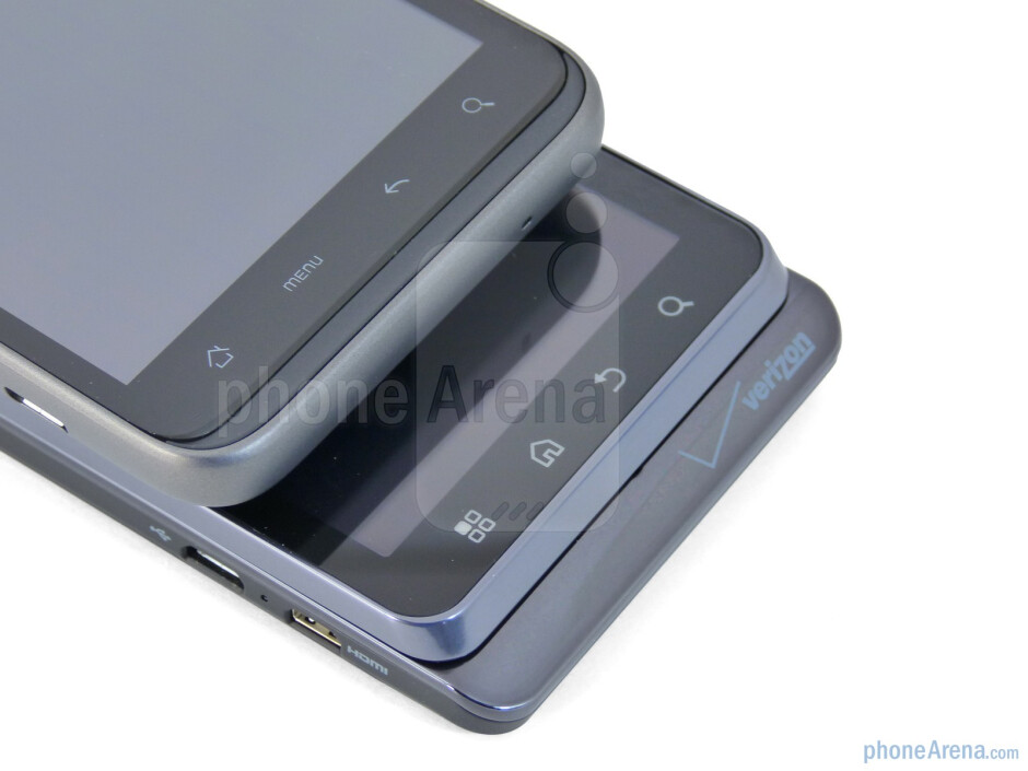 Android capacitive buttons - Motorola DROID 3 (bottom) and the HTC ThunderBolt (top) - Motorola DROID 3 vs HTC ThunderBolt