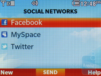 Social networking menu - LG Cosmos 2 Review