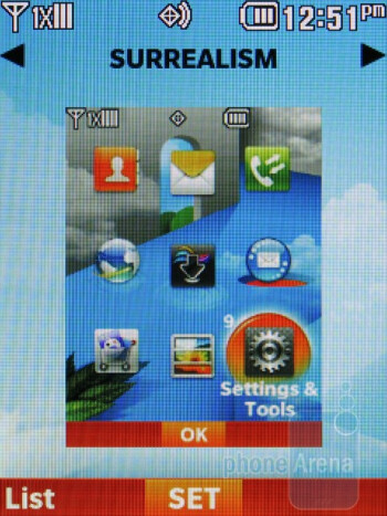 Surrealism theme - The interface of LG Cosmos 2 - LG Cosmos 2 Review