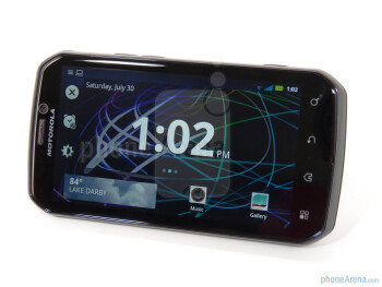 The Widget Clock app - Motorola has included a kickstand on the Photon 4G - Motorola PHOTON 4G Review