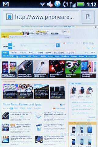Web browsing - Motorola TITANIUM Review