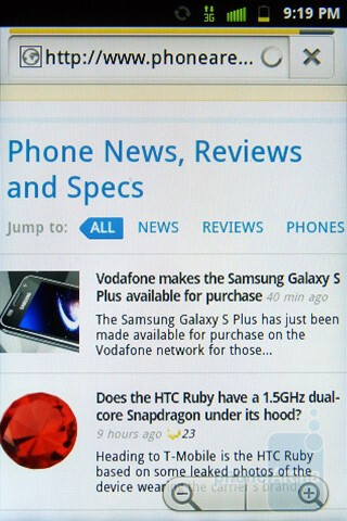 Web browser - Samsung Conquer 4G Review