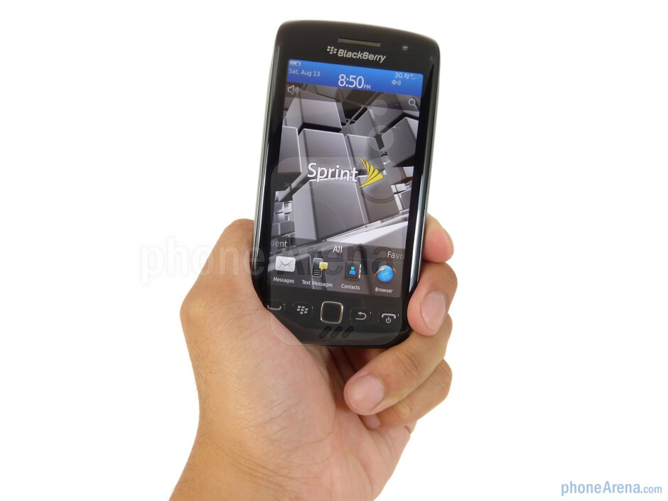 The RIM BlackBerry Torch 9850 is constructed mostly out of glossy black plastic - RIM BlackBerry Torch 9850 Review