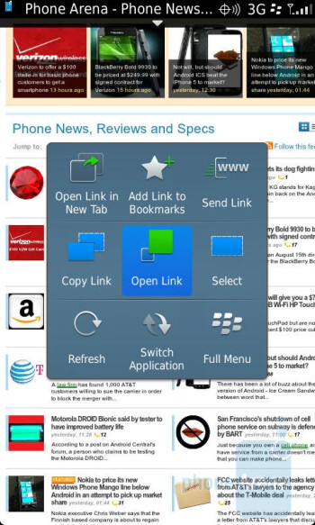 The web browser of the RIM BlackBerry Torch 9850 - RIM BlackBerry Torch 9850 Review