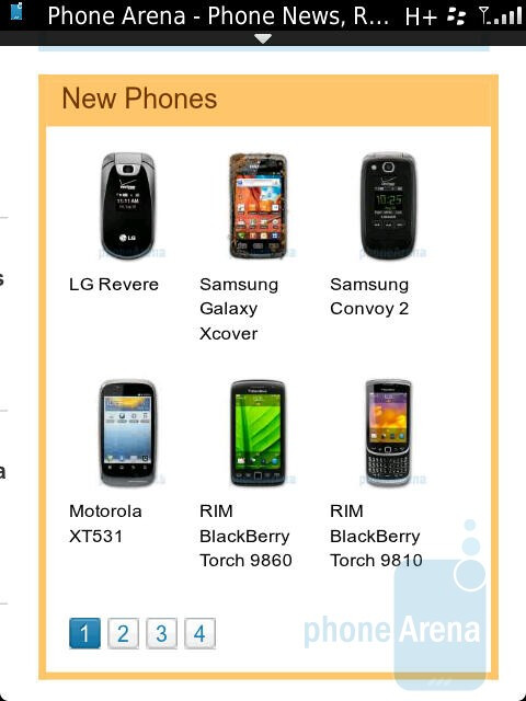 Browsing the web - RIM BlackBerry Torch 9810 Review
