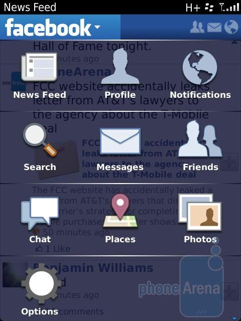 The Facebook app - RIM BlackBerry Torch 9810 Review