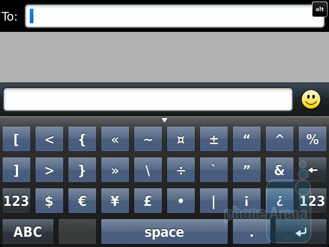 The on-screen keyboards - RIM BlackBerry Torch 9810 Review