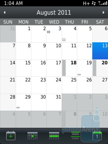 The Calendar app on the RIM BlackBerry Torch 9810 - RIM BlackBerry Torch 9810 Review