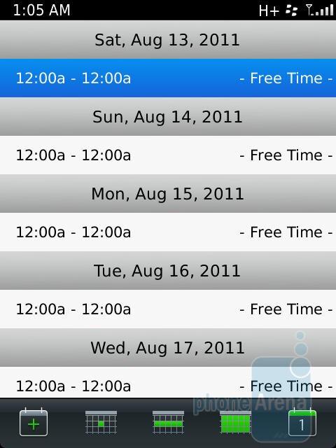 The Calendar app on the RIM BlackBerry Torch 9810 - RIM BlackBerry Torch 9810 Review