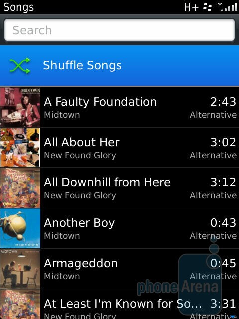 The music player on the RIM BlackBerry Torch 9810 - RIM BlackBerry Torch 9810 Review