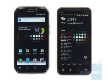 The Motorola Photon 4G (left, top) and the HTC EVO 3D (right, bottom) - Motorola Photon 4G vs. HTC EVO 3D